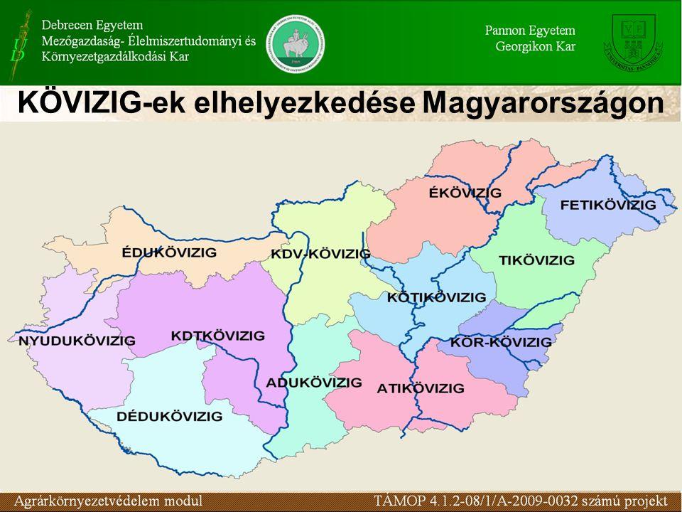 KÖVIZIG-ek elhelyezkedése Magyarországon