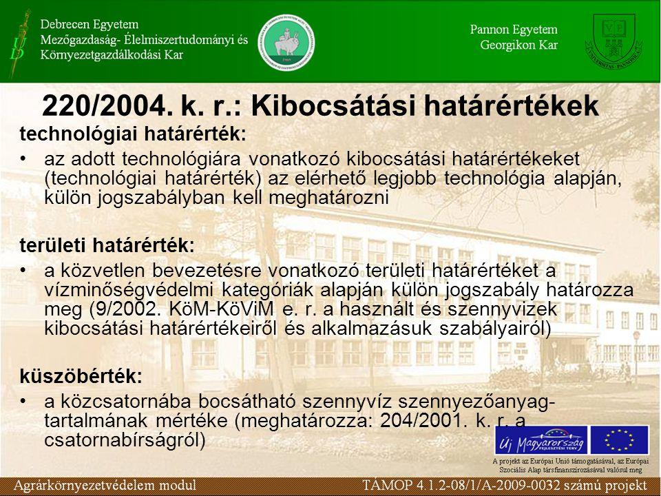 220/2004. k. r.: Kibocsátási határértékek