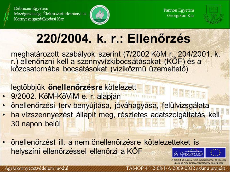 220/2004. k. r.: Ellenőrzés