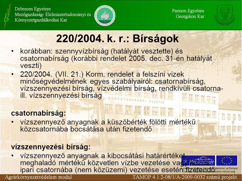 220/2004. k. r.: Bírságok korábban: szennyvízbírság (hatályát vesztette) és csatornabírság (korábbi rendelet 2005. dec. 31-én hatályát veszti)