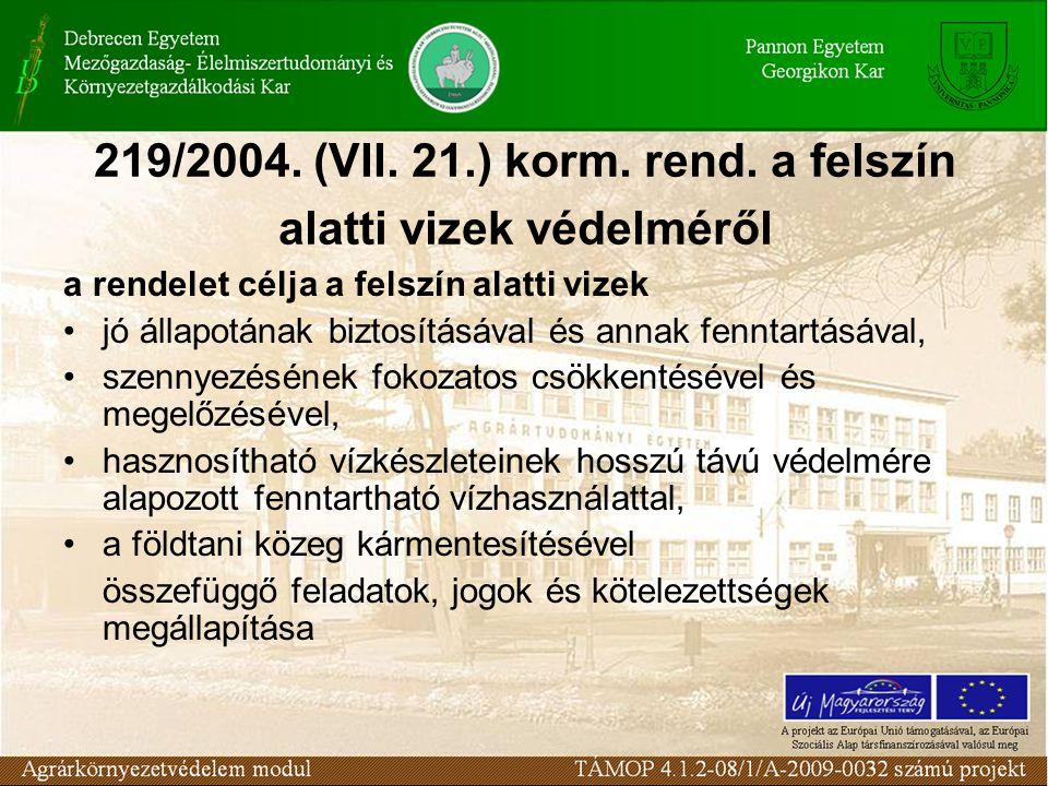 219/2004. (VII. 21.) korm. rend. a felszín alatti vizek védelméről