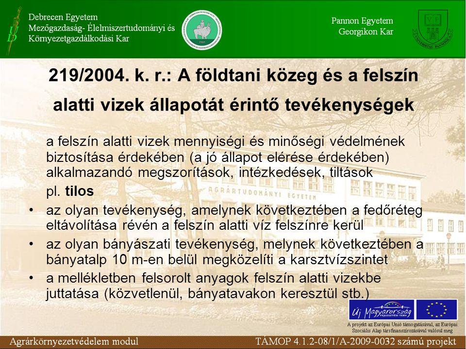 219/2004. k. r.: A földtani közeg és a felszín alatti vizek állapotát érintő tevékenységek
