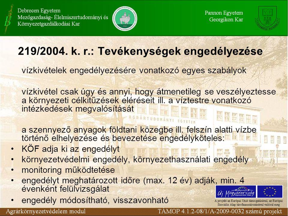 219/2004. k. r.: Tevékenységek engedélyezése
