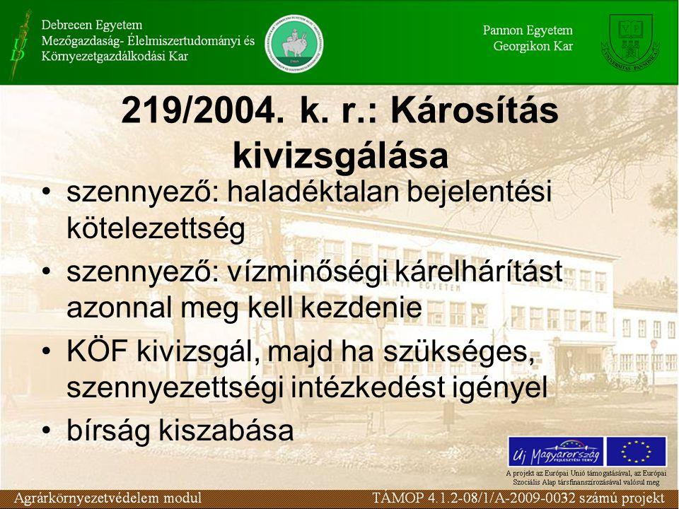 219/2004. k. r.: Károsítás kivizsgálása