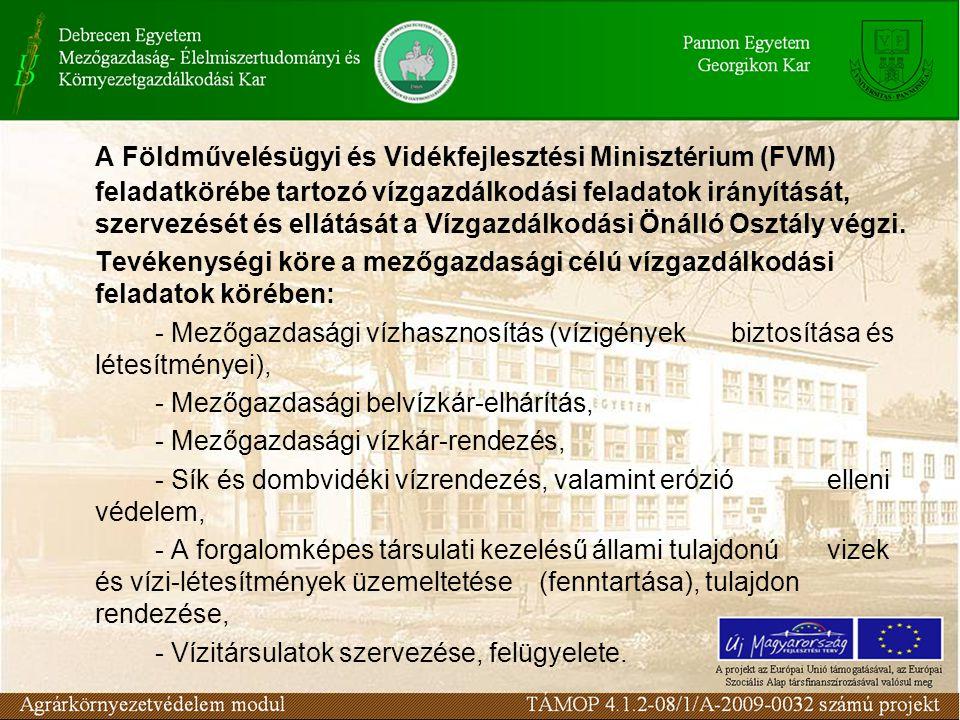 A Földművelésügyi és Vidékfejlesztési Minisztérium (FVM) feladatkörébe tartozó vízgazdálkodási feladatok irányítását, szervezését és ellátását a Vízgazdálkodási Önálló Osztály végzi.