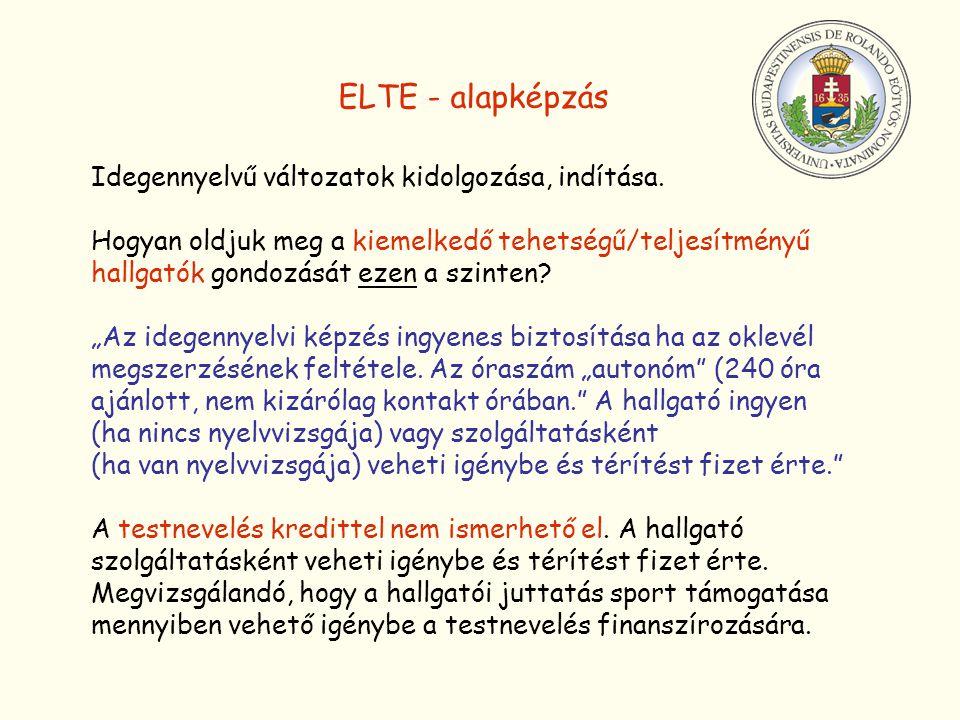 ELTE - alapképzás Idegennyelvű változatok kidolgozása, indítása.