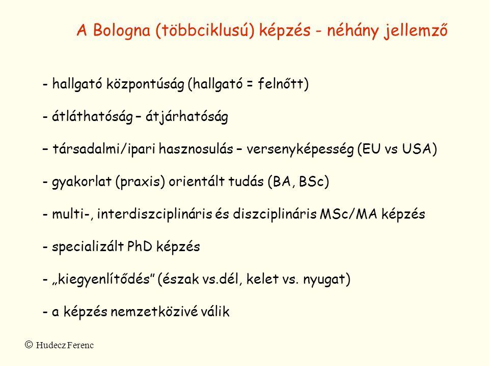 A Bologna (többciklusú) képzés - néhány jellemző