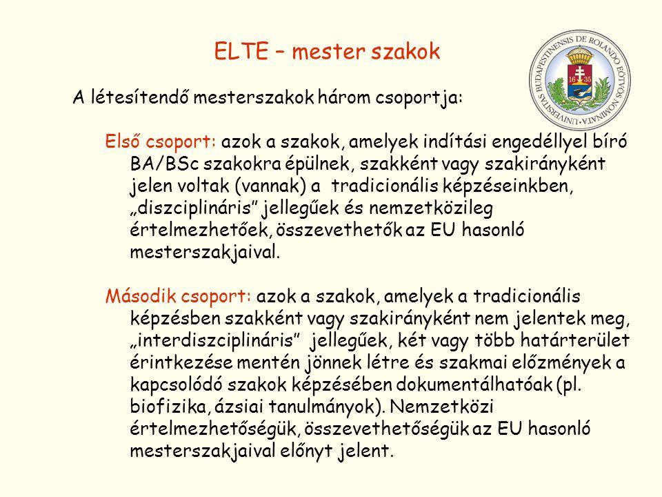 ELTE – mester szakok A létesítendő mesterszakok három csoportja: