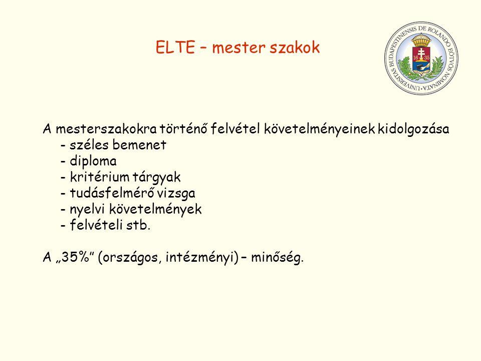 ELTE – mester szakok A mesterszakokra történő felvétel követelményeinek kidolgozása. - széles bemenet.