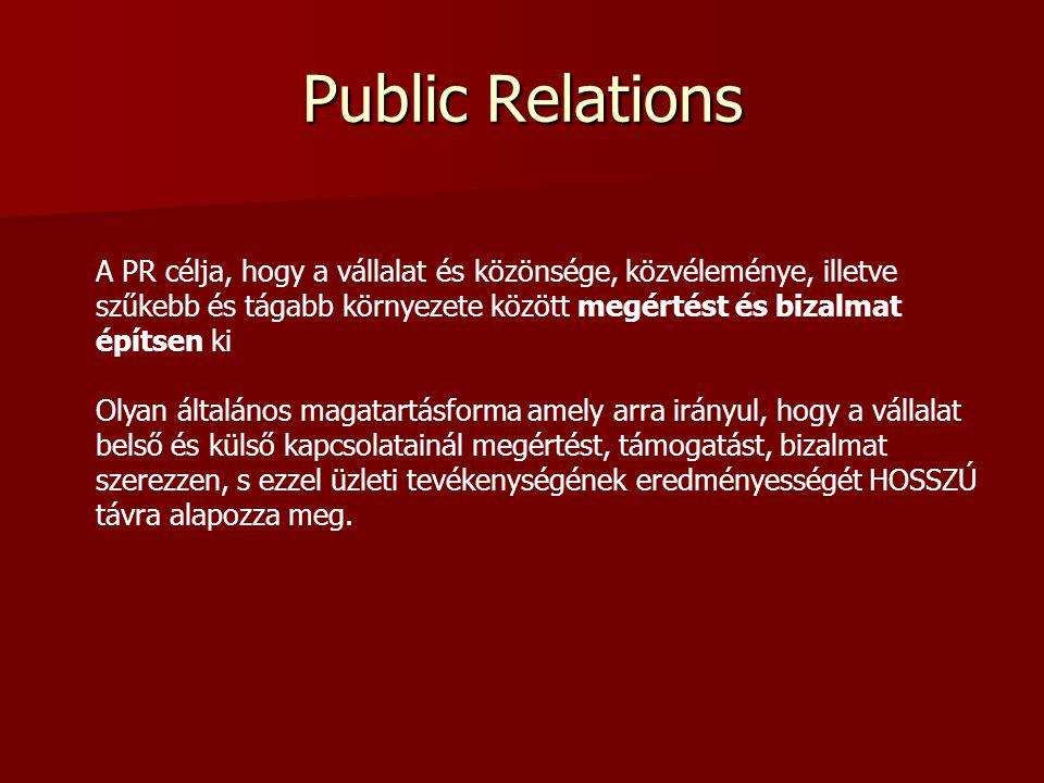 Public Relations A PR célja, hogy a vállalat és közönsége, közvéleménye, illetve szűkebb és tágabb környezete között megértést és bizalmat építsen ki.