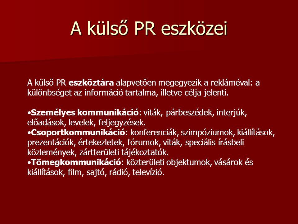 A külső PR eszközei A külső PR eszköztára alapvetően megegyezik a rekláméval: a különbséget az információ tartalma, illetve célja jelenti.