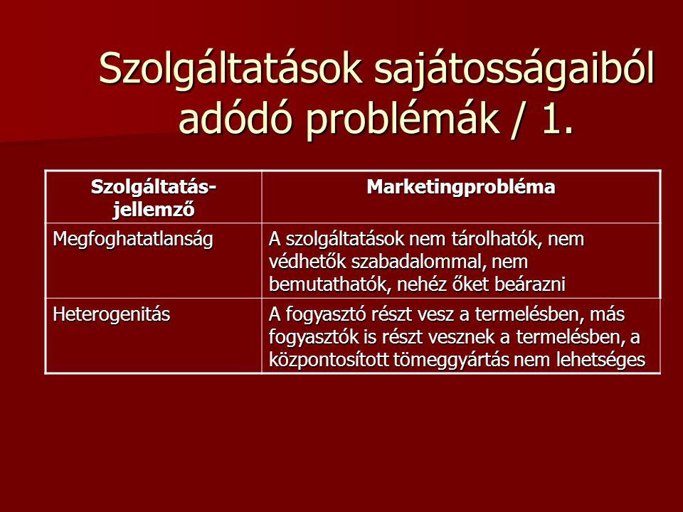 Szolgáltatások sajátosságaiból adódó problémák / 1.