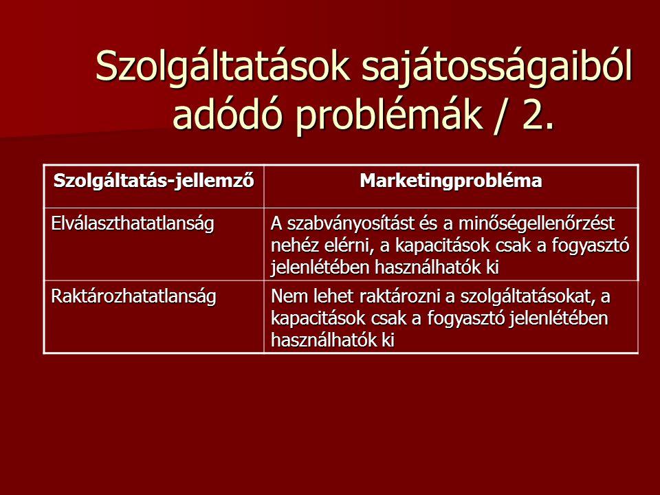 Szolgáltatások sajátosságaiból adódó problémák / 2.