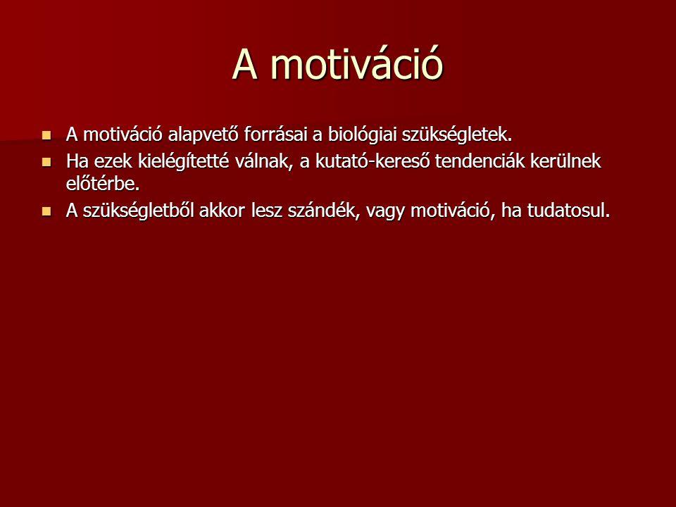 A motiváció A motiváció alapvető forrásai a biológiai szükségletek.