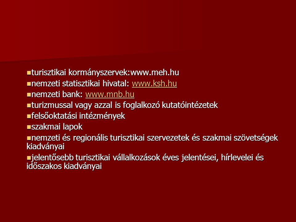 turisztikai kormányszervek:www.meh.hu