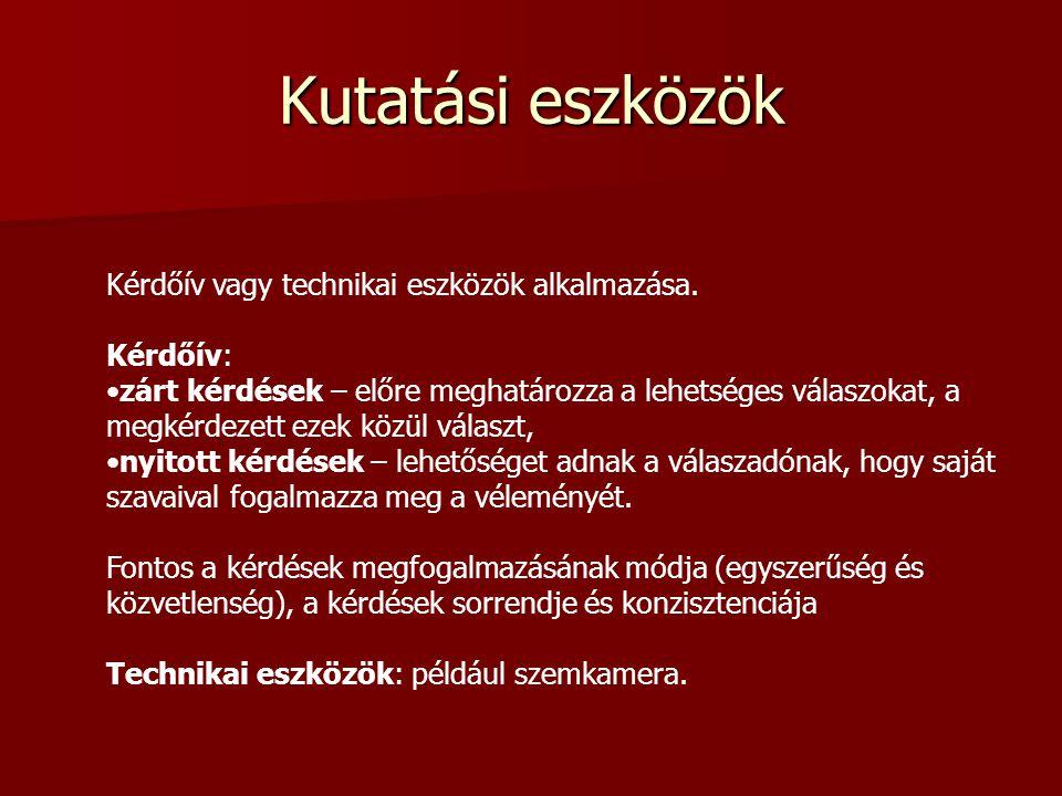 Kutatási eszközök Kérdőív vagy technikai eszközök alkalmazása.