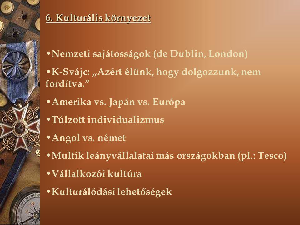 """6. Kulturális környezet Nemzeti sajátosságok (de Dublin, London) K-Svájc: """"Azért élünk, hogy dolgozzunk, nem fordítva."""