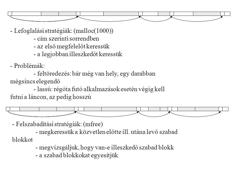 Lefoglalási stratégiák: (malloc(1000)). - cím szerinti sorrendben