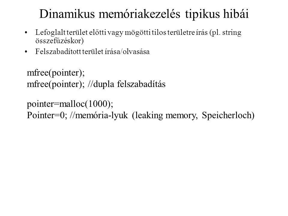 Dinamikus memóriakezelés tipikus hibái
