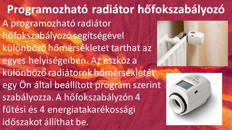 Programozható radiátor hőfokszabályozó