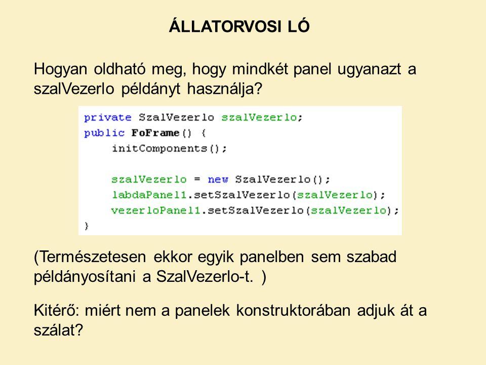 ÁLLATORVOSI LÓ Hogyan oldható meg, hogy mindkét panel ugyanazt a szalVezerlo példányt használja