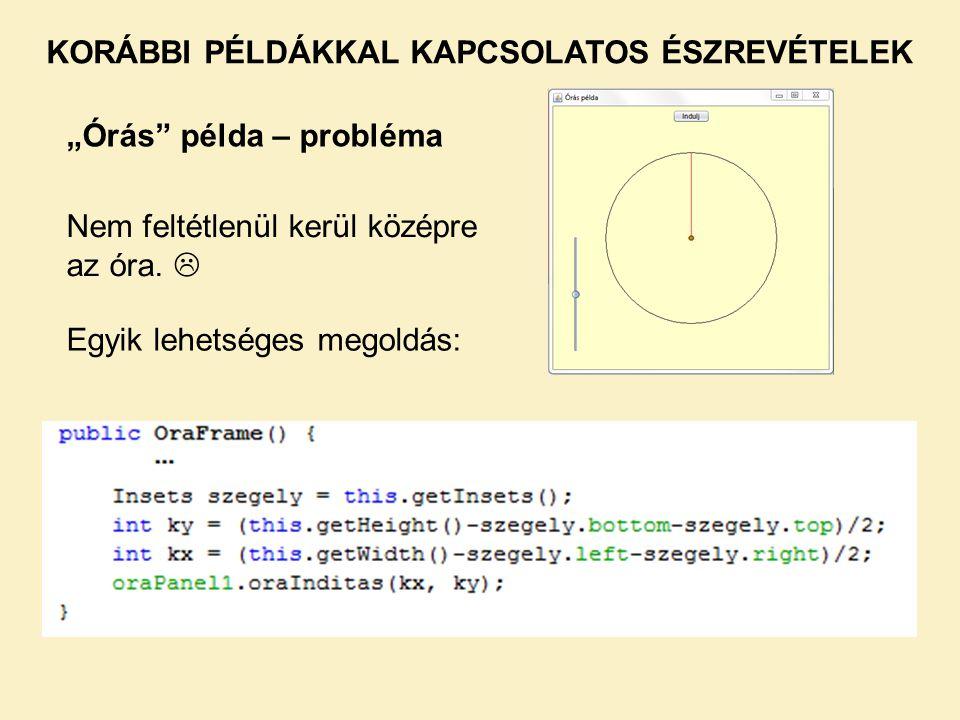 KORÁBBI PÉLDÁKKAL KAPCSOLATOS ÉSZREVÉTELEK