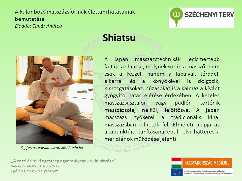 Shiatsu A különböző masszázsformák élettani hatásainak bemutatása