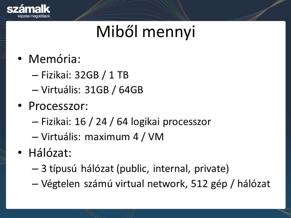 Miből mennyi Memória: Processzor: Hálózat: Fizikai: 32GB / 1 TB