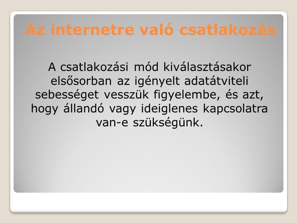Az internetre való csatlakozás