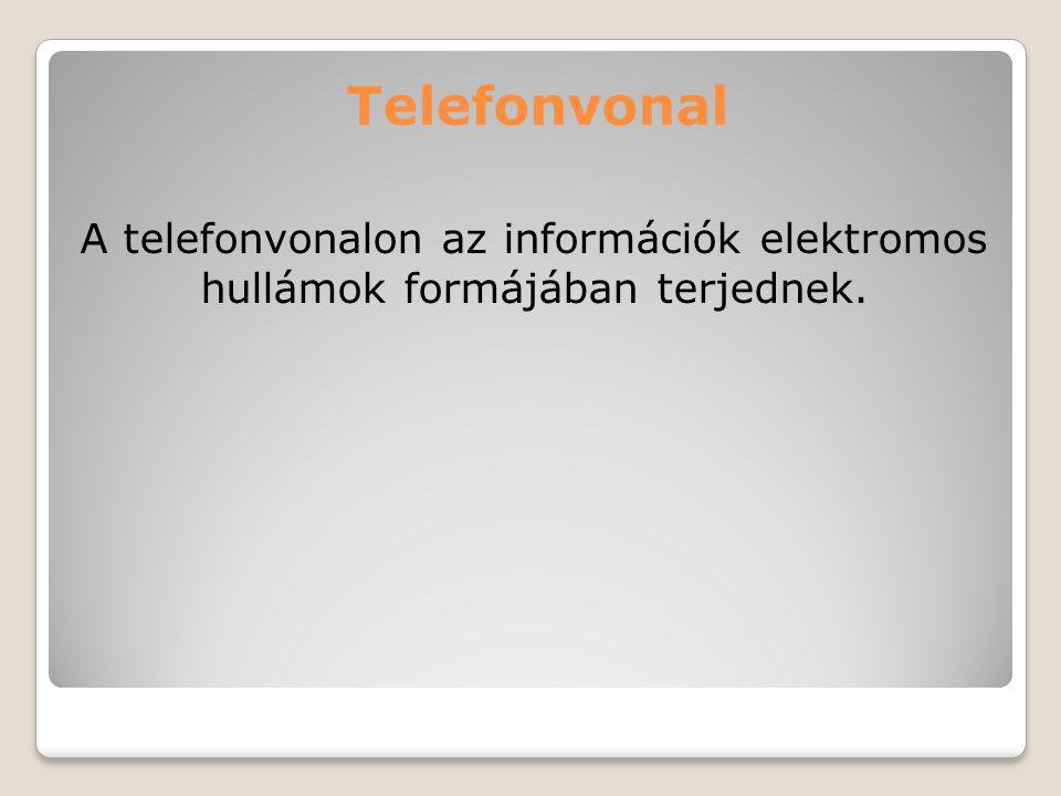 Telefonvonal A telefonvonalon az információk elektromos hullámok formájában terjednek.