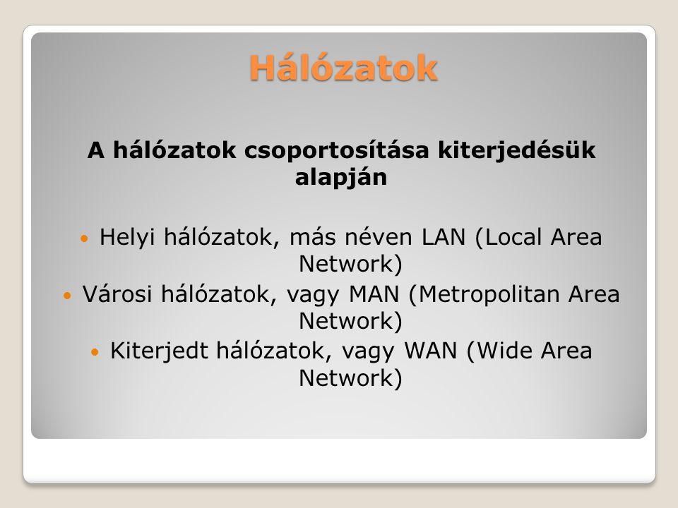 A hálózatok csoportosítása kiterjedésük alapján