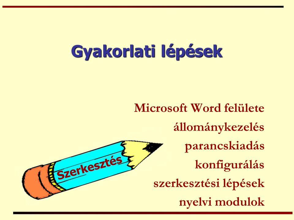 Gyakorlati lépések Microsoft Word felülete állománykezelés