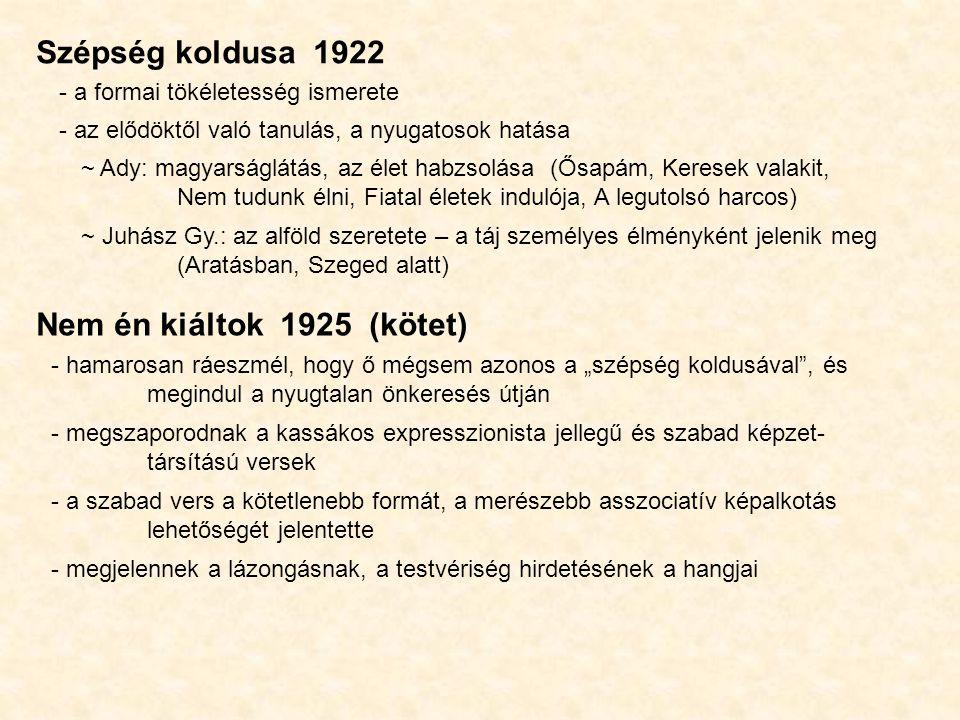 Szépség koldusa 1922 Nem én kiáltok 1925 (kötet)