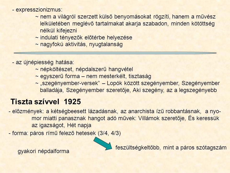 Tiszta szívvel 1925 - expresszionizmus: