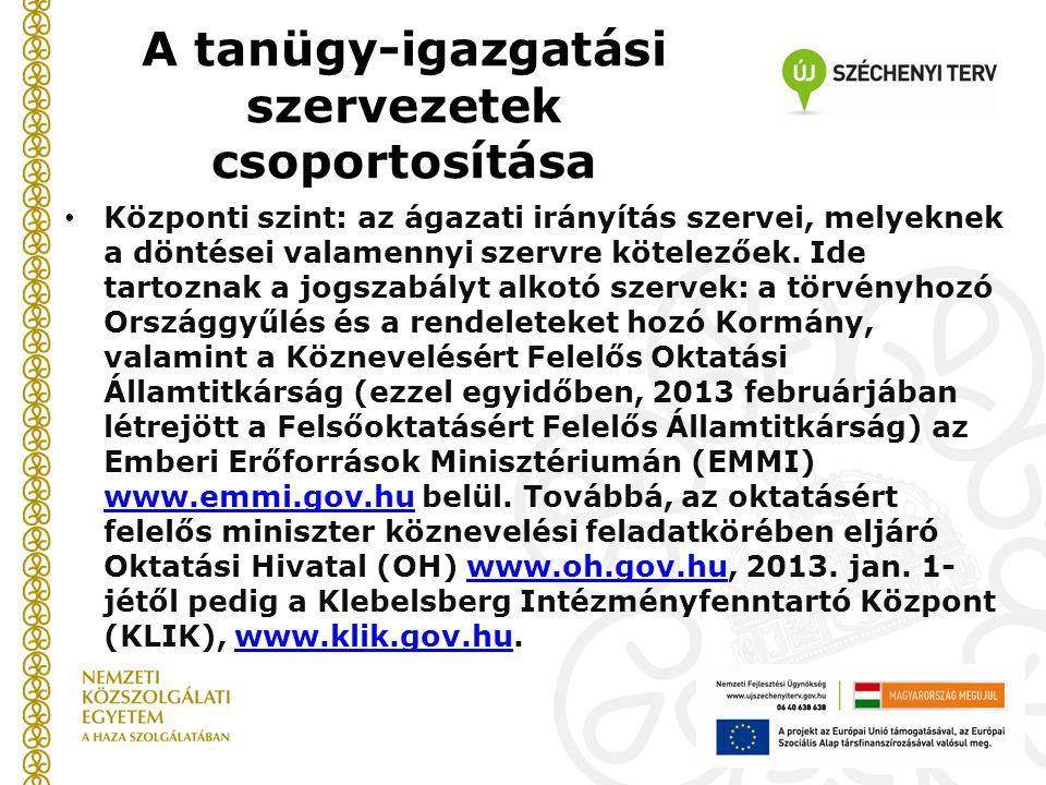 A tanügy-igazgatási szervezetek csoportosítása