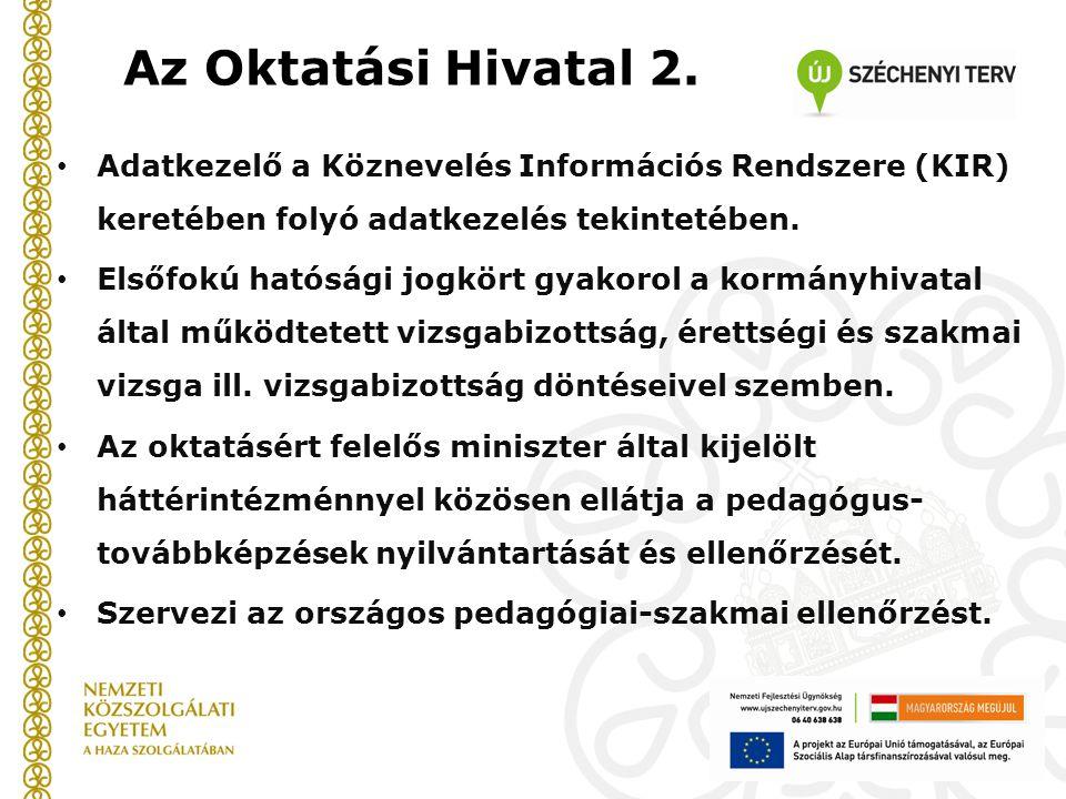 Az Oktatási Hivatal 2. Adatkezelő a Köznevelés Információs Rendszere (KIR) keretében folyó adatkezelés tekintetében.