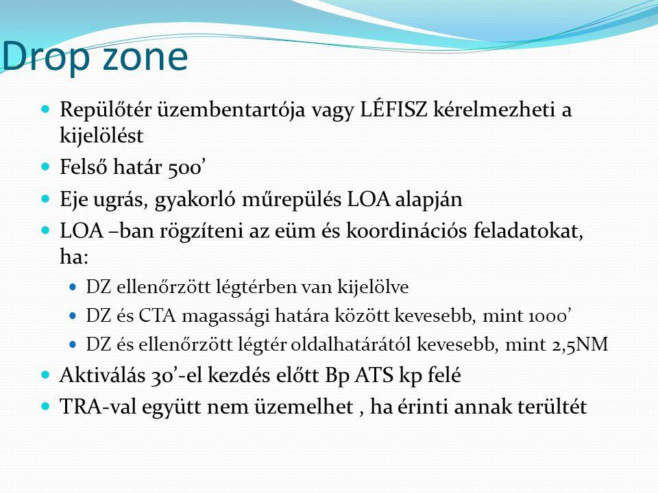 Drop zone Repülőtér üzembentartója vagy LÉFISZ kérelmezheti a kijelölést. Felső határ 500' Eje ugrás, gyakorló műrepülés LOA alapján.