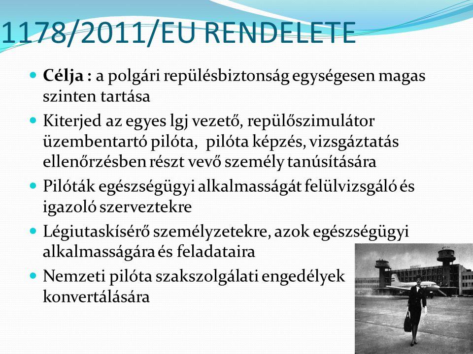 1178/2011/EU RENDELETE Célja : a polgári repülésbiztonság egységesen magas szinten tartása.