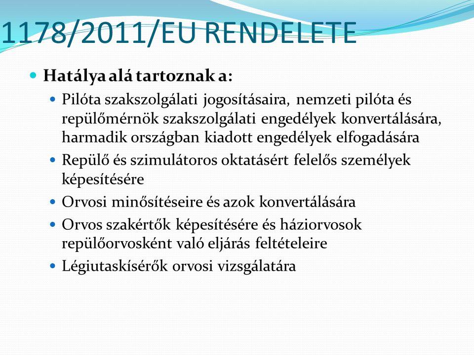 1178/2011/EU RENDELETE Hatálya alá tartoznak a: