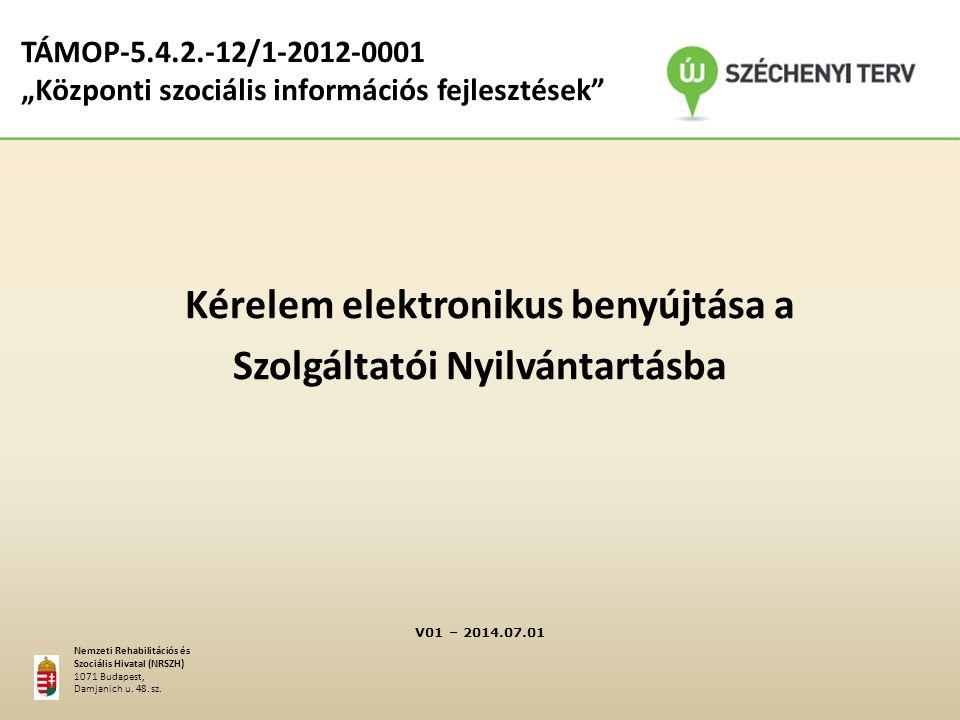 Kérelem elektronikus benyújtása a Szolgáltatói Nyilvántartásba