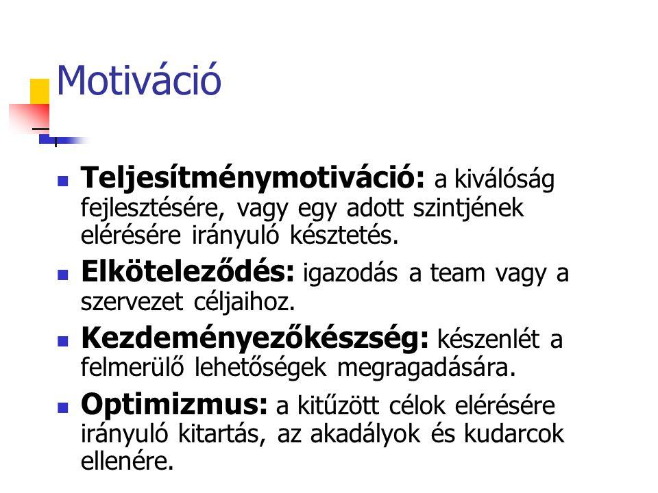 Motiváció Teljesítménymotiváció: a kiválóság fejlesztésére, vagy egy adott szintjének elérésére irányuló késztetés.