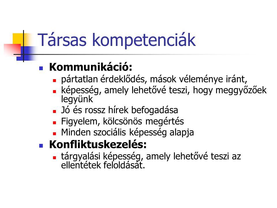 Társas kompetenciák Kommunikáció: Konfliktuskezelés: