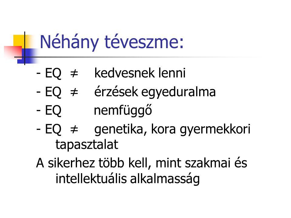 Néhány téveszme: - EQ ≠ kedvesnek lenni - EQ ≠ érzések egyeduralma