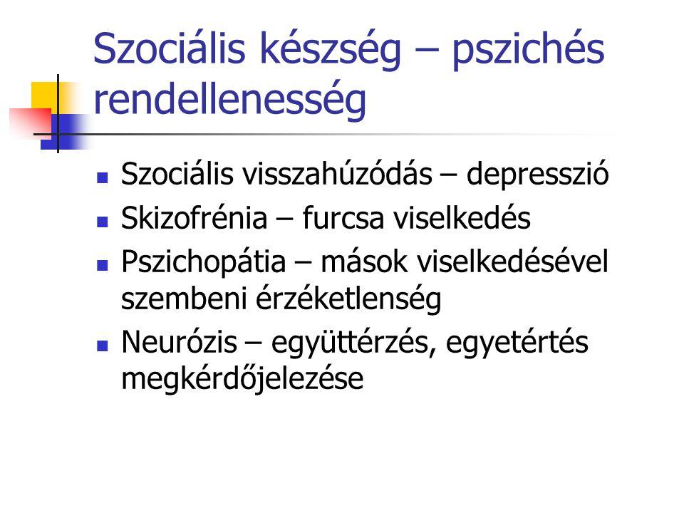 Szociális készség – pszichés rendellenesség
