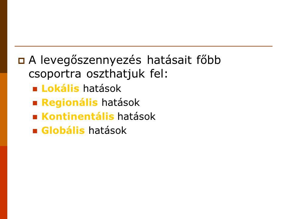 A levegőszennyezés hatásait főbb csoportra oszthatjuk fel: