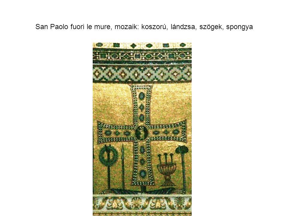 San Paolo fuori le mure, mozaik: koszorú, lándzsa, szögek, spongya