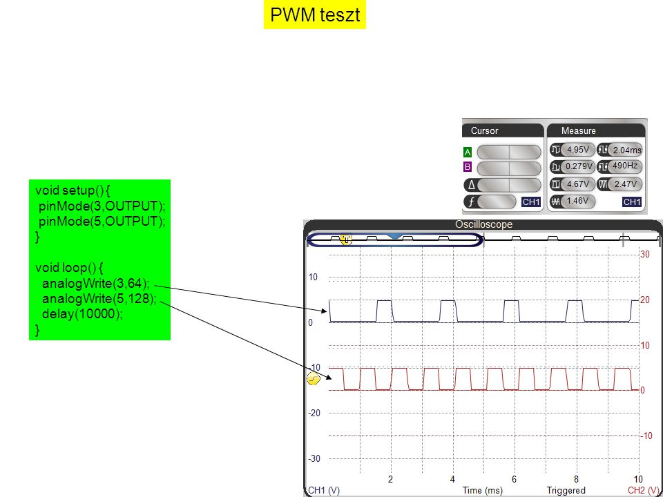 PWM teszt void setup() { pinMode(3,OUTPUT); pinMode(5,OUTPUT); }