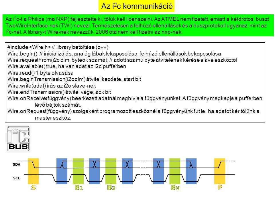 Az i2c kommunikáció Az i2c-t a Philips (ma NXP) fejlesztette ki, tőlük kell licenszelni. Az ATMEL nem fizetett, emiatt a kétdrótos buszt.