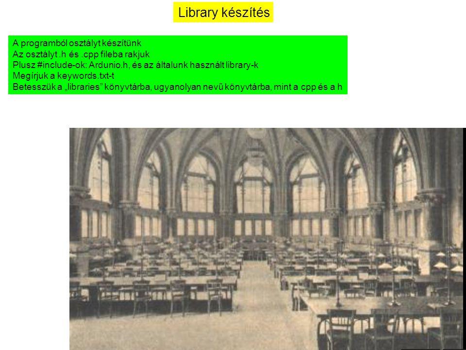 Library készítés A programból osztályt készítünk