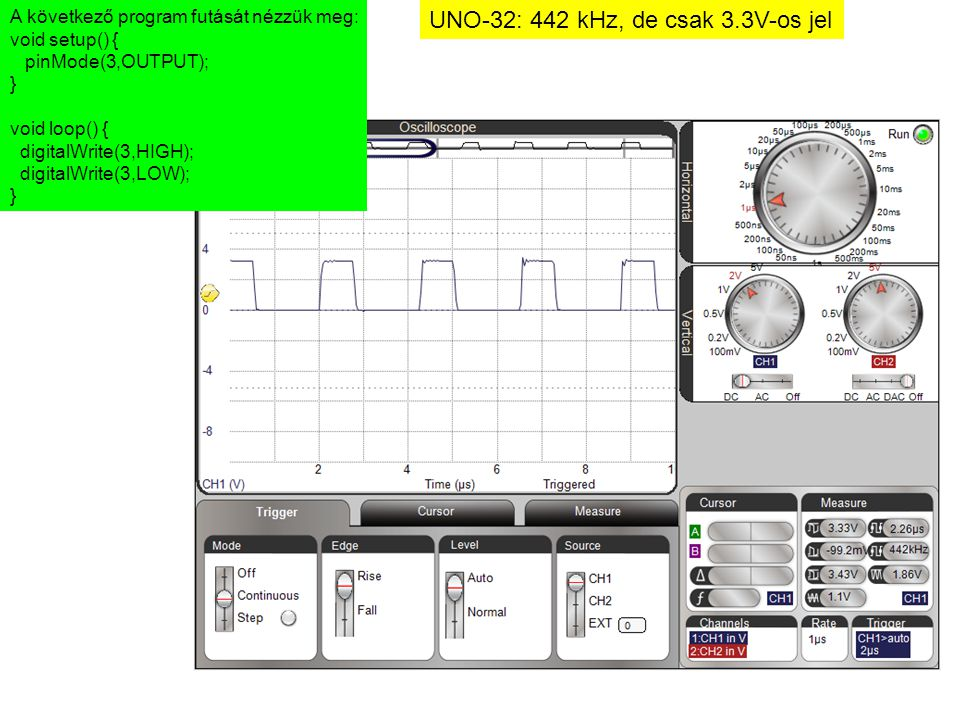 UNO-32: 442 kHz, de csak 3.3V-os jel